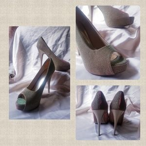{CHINESE LAUNDRY}  Rose Gold Glitter Heels